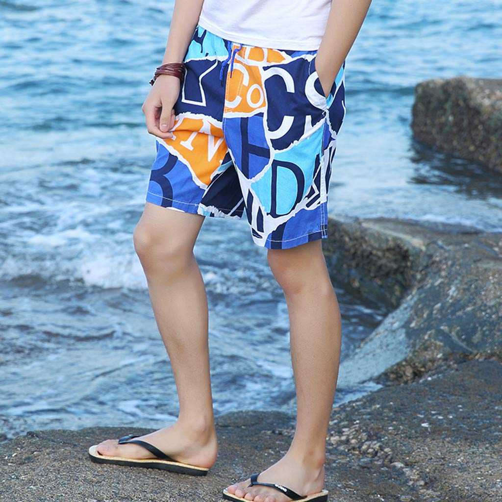 NUWFOR Men's Summer New Cotton Printed Short Sleeves Fashion Loose Size Beach Pants(Blue,US XL Waist:30.71-38.58'') by NUWFOR (Image #3)