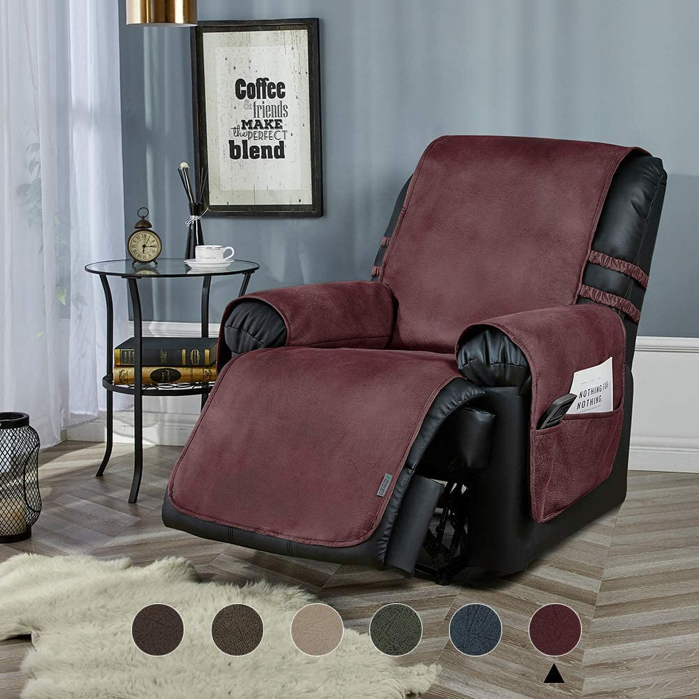 "STONECREST Recliner Chair Cover, Water Resistant Faux Leather Slipcover, Washable Furniture Protector for Pets, Seat Width Up to 23 Inches with Straps(Burgundy, 23"" Recliner)"