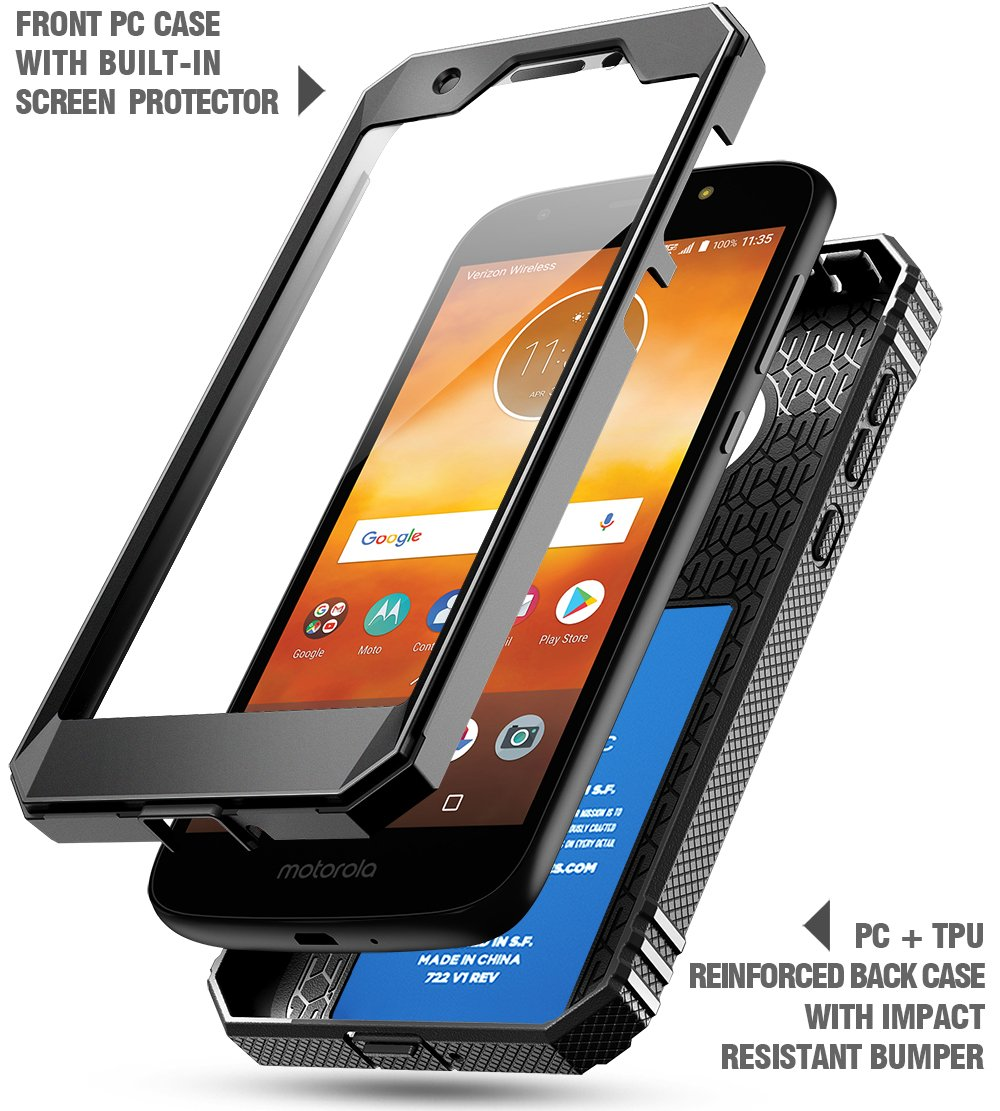 Moto E5 Play Rugged Case Full-Body Rugged Heavy Duty Case with Built-in-Screen Protector for Moto E5 Play//Moto E5 Cruise Black Poetic Revolution 360 Degree Protection Moto E5 Cruise Rugged Case