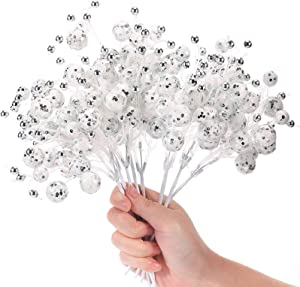 FUNARTY 8 Pack Christmas Berry Picks Silver White Artificial Glittered Berries Stems for Christmas Tree Wedding Party Décor