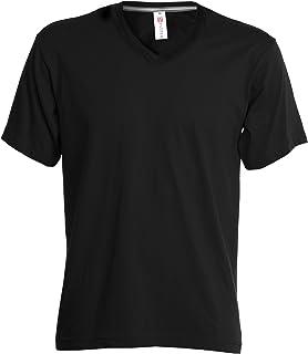 T-Shirt Da Lavoro Maglietta Manica Corta Scollo a V 100% Cotone Payper V-Neck, Colore: Nero, Taglia: XL