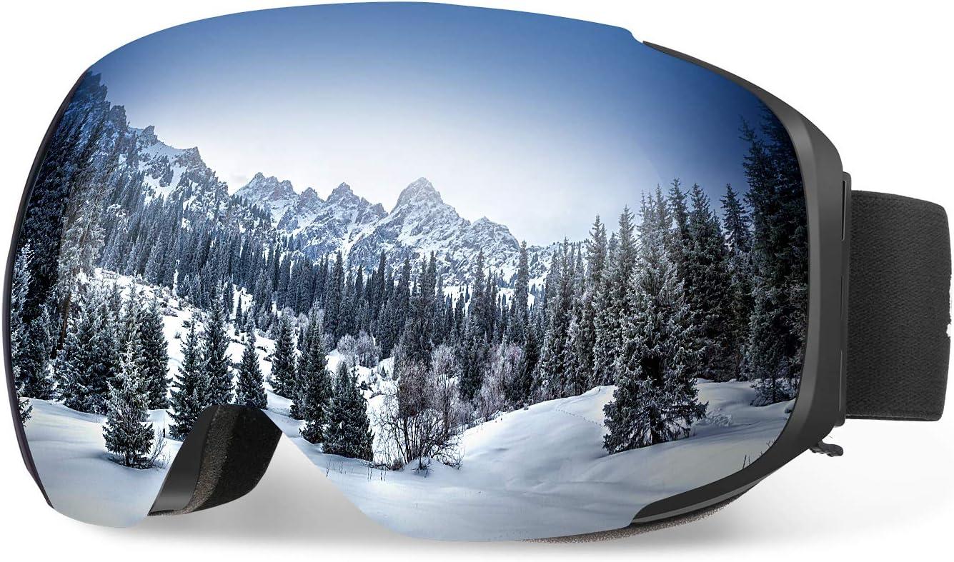 ENKEEO Ski Goggles - Detachable Dual Layer Anti-Fog Magnet Lens 100% UV400 Protection Frameless Snow Goggles with Bendable Frame, Windproof for Men Women Snowboarding Skating