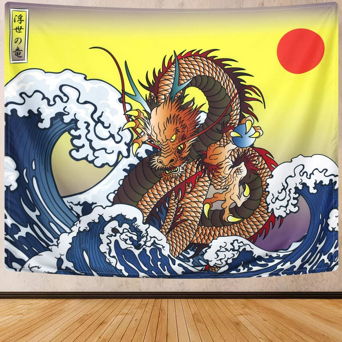 SENYYI Japanese Ukiyo-e Tapestry Wall Hanging Great Wave Kanagawa Tapestry Ocean Sunset Tapestry 3D Dragon Home Decor for Room 70.9 x 92.5 inches
