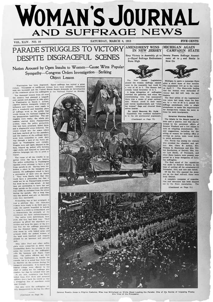 Parade struggles to victor Front page of the Womans journal and suffrage news with the headline