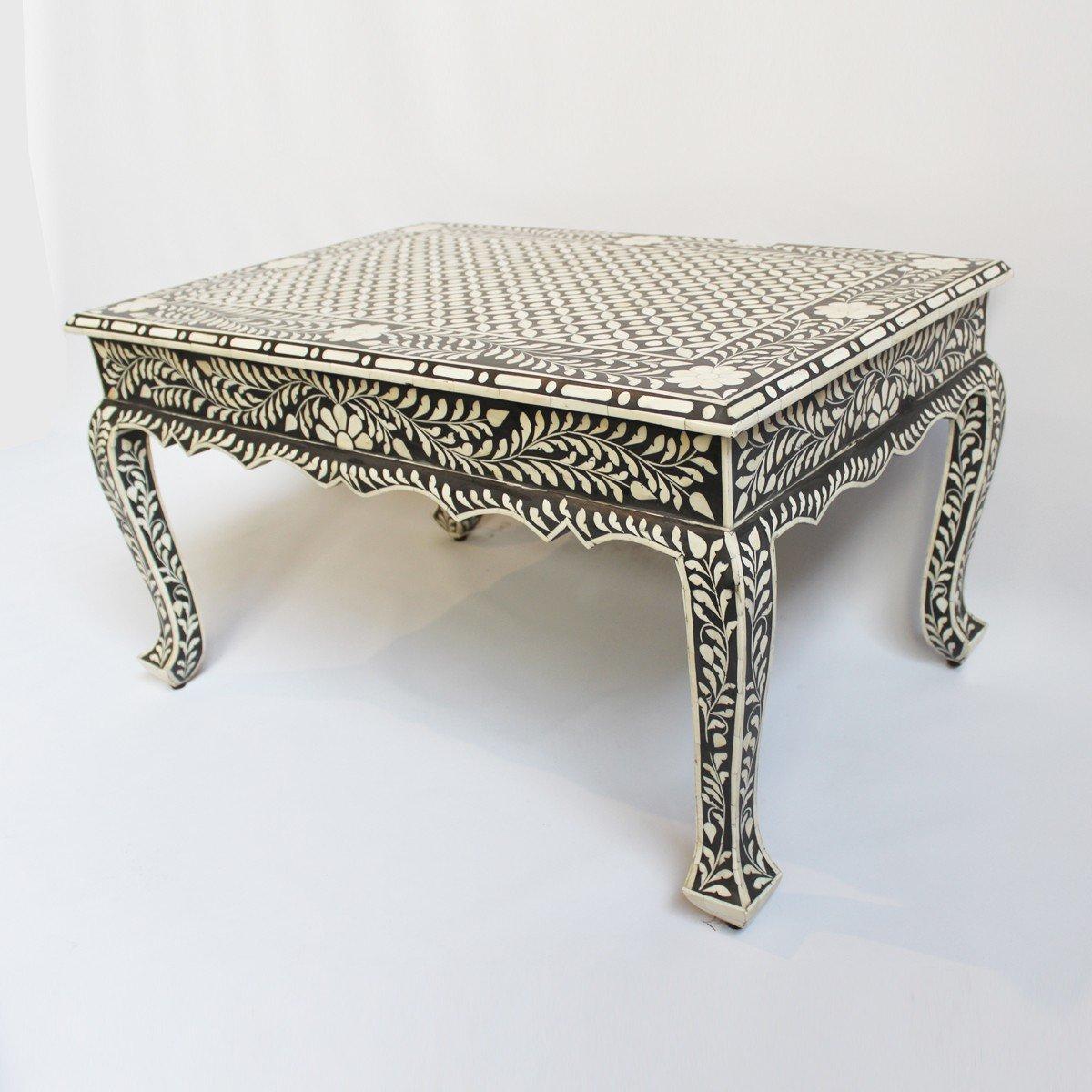 Black Bone Inlay Modern Antique Handmade Coffee Table
