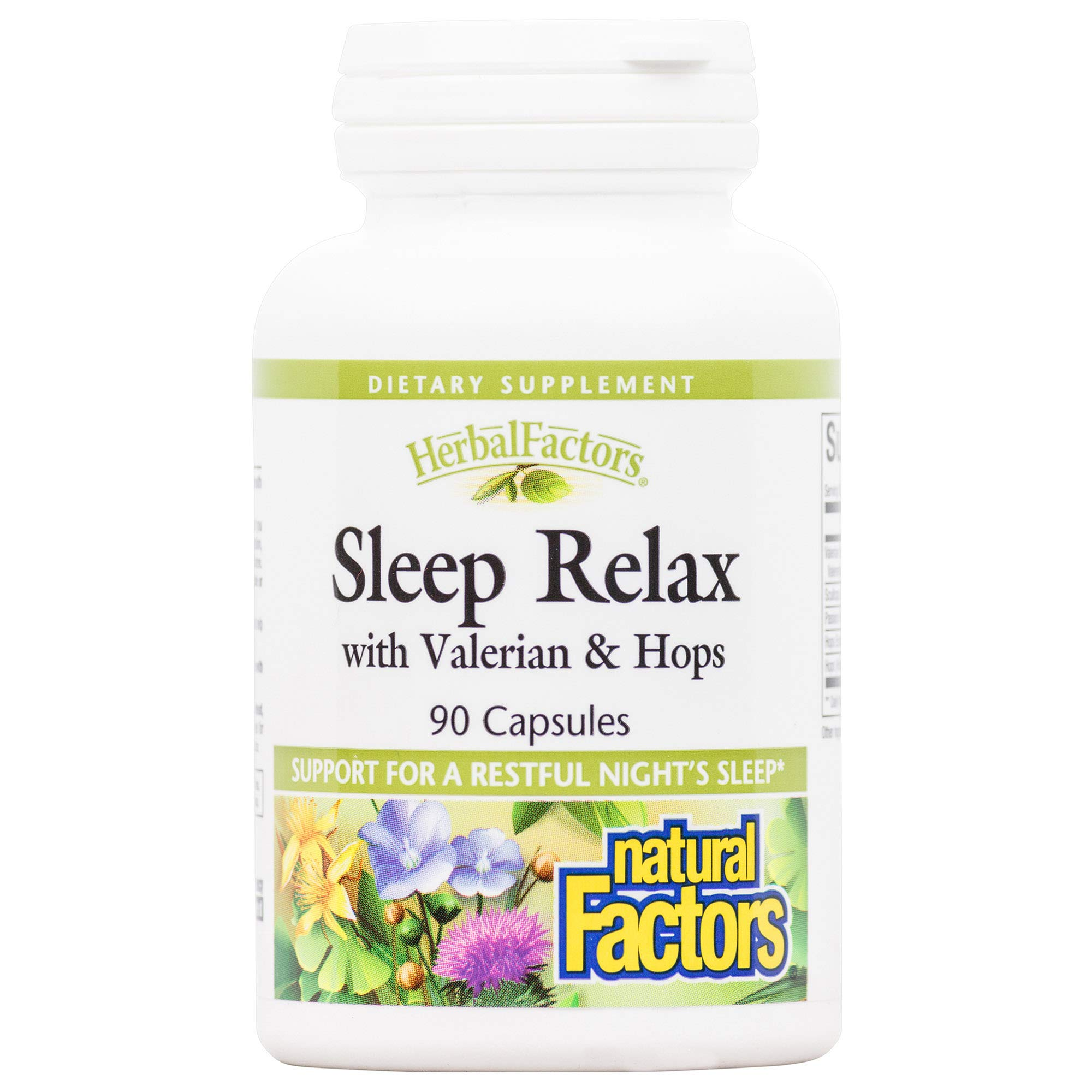 Herbal Factors Sleep Relax Formula by Natural Factors, Natural Sleep Aid with Valerian Root, Passion Flower and Skullcap, Non-GMO, 90 capsules (90 servings)