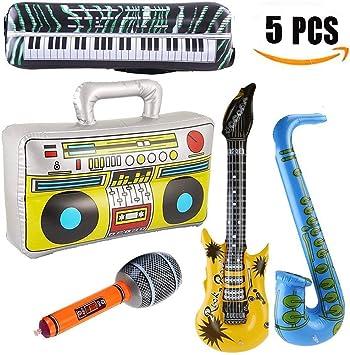 Yojoloin 5 UNIDS Inflables Guitarra Saxofón Micrófono Boom Box Instrumentos Musicales Accesorios para Fiesta Suministros Favores de Fiesta Globos Random Color (5 PCS): Amazon.es: Juguetes y juegos