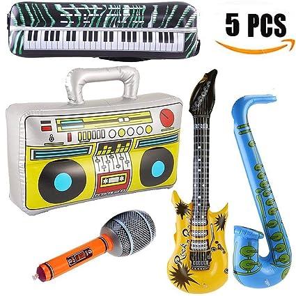Yojoloin 5 UNIDS Inflables Guitarra Saxofón Micrófono Boom Box Instrumentos Musicales Accesorios para Fiesta Suministros Favores