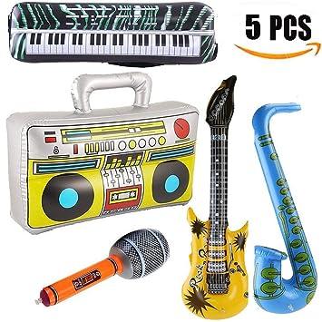Yojoloin 5 UNIDS Inflables Guitarra Saxofón Micrófono Boom Box Instrumentos Musicales Accesorios para Fiesta Suministros Favores de Fiesta Globos ...