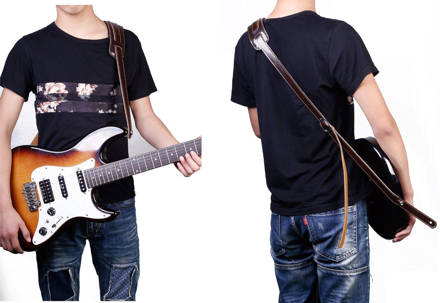 Rayzm Correa de Cuero para Guitarra Acústica Eléctrica/Bajo (Marrón): Amazon.es: Instrumentos musicales