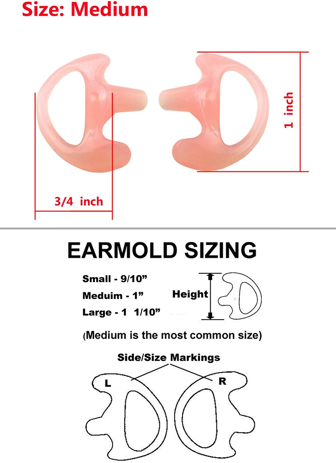 Xfox EM0301 Large Silicone Earmold Earbud One Pair Left//Right Large, Fleshcolor, 1 Pair for All Two-Way Walkie Talkie Radio Air Acoustic Coil Tube Earpiece Headphone Accessories Kits