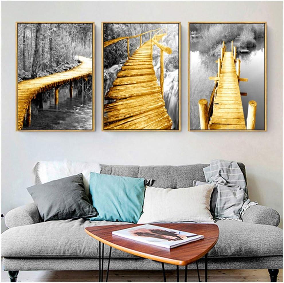 Minimalismo negro estilo puente dorado lienzo pintura nórdica cartel paisaje pared cuadros para sala arte decorativo-40x60 cm sin marco