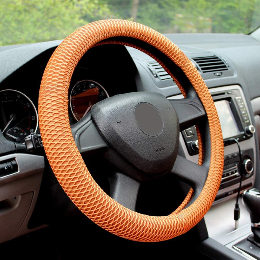 Red Grebest Steering Wheel Cover Interior Decoration Steering Wheel Cover Stylish Auto Car Vehicle Breathable Anti-Slip Steering Wheel Cover Protector