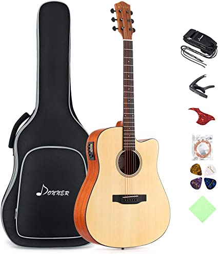 Donner Electro Acoustic Guitar Cutaway Full Size Beginner Guitar Bundle 41 Inch Built In Preamp With Bag Strap Capo Strings Picks Dag 1ce Amazon Co Uk Musical Instruments