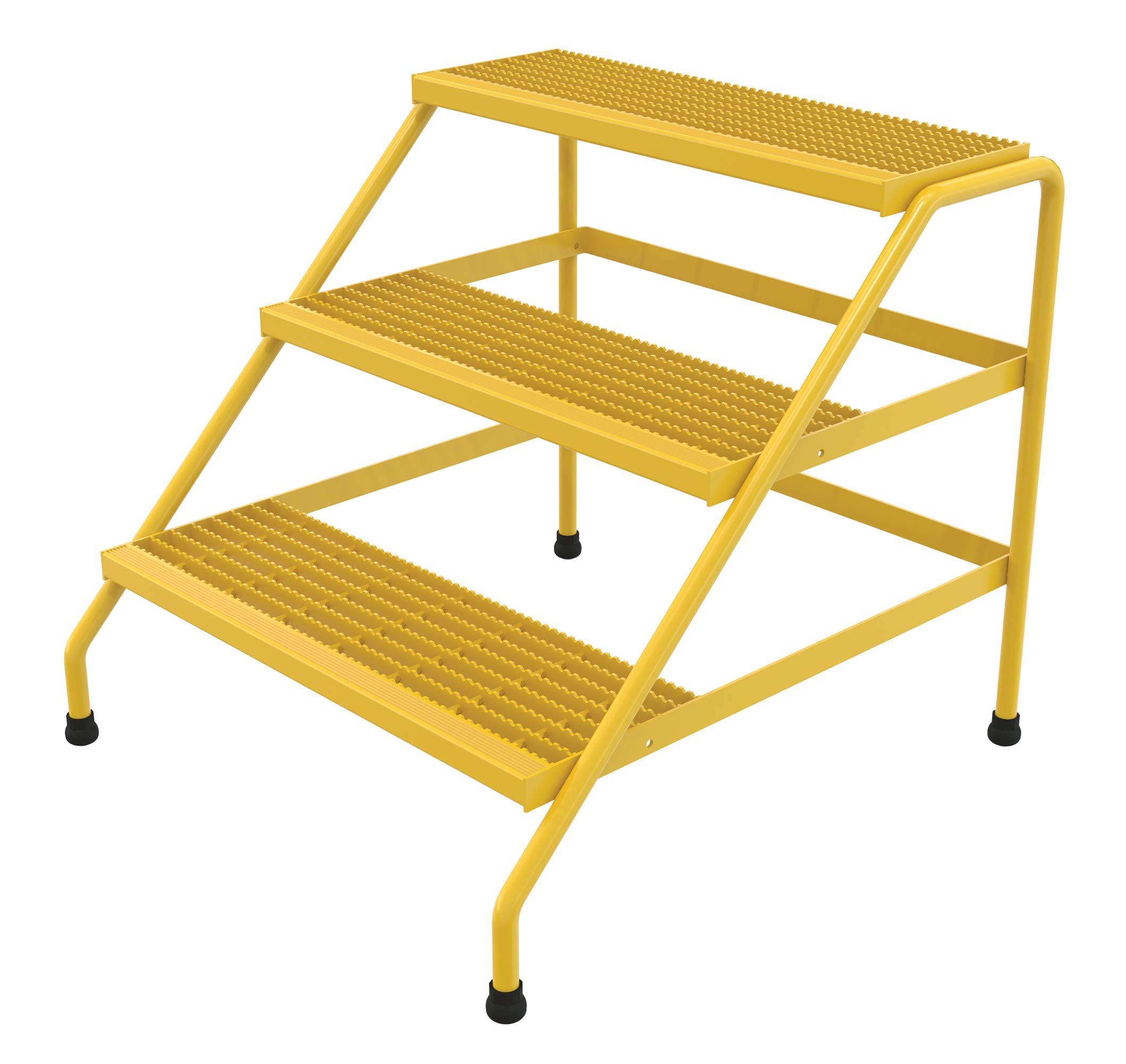 Vestil SSA-3W-Y Aluminum Step Stand, 3 Step Wide Welded, Yellow by Vestil