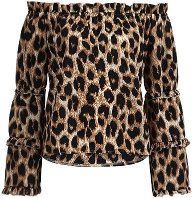 WARMWORD Mujeres Casual Estampado de Leopardo Manga Larga Fuera de Hombro Blusa Camisa Top Camiseta Manga Larga Mujeres Casual Estampado de Leopardo Manga Larga Fuera de Blusa: Amazon.es: Ropa y accesorios