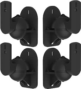 VonHaus Black Universal Wall Mount Speaker Brackets x 4