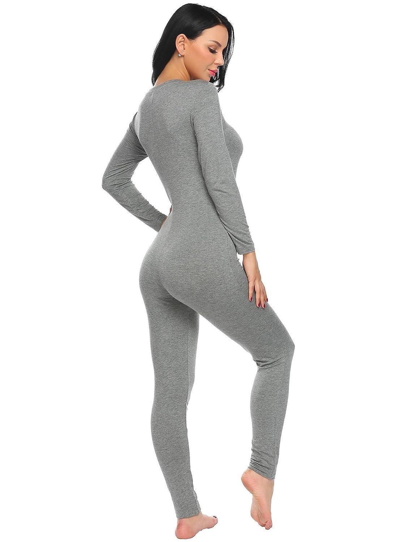 2127eeba23c3 Ekouaer Women Onepiece Jumpsuit Long Sleeve V-Neck Thermal Underwear Union  Suits Jumpsuit S-XXL at Amazon Women s Clothing store