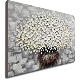 Hand Painted Modern Textured White Flower Oil Painting on Canvas Abstract Floral Artwork