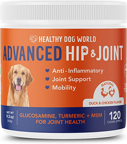 Healthy Dog World Glucosamine for Dogs- Advanced Hip & Joint Supplement for Dogs Pain Relief Arthritis with Chondroitin, MSM, Organic Turmeric - Advanced Hip and Joint Support for Dogs Chews - 120 ct