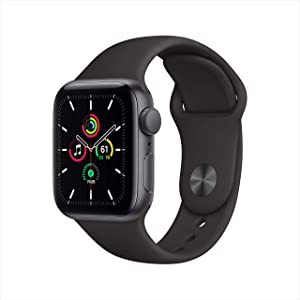 New Apple Watch SE (GPS, 40mm) - Space Gray Aluminum Case with Black Sport Band (Renewed)