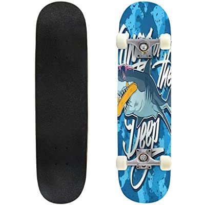 Classic Concave Skateboard The deep, Shark Vector Graphic and Camouflage Print Pattern Seamless Longboard Maple Deck Extreme Sports and Outdoors Double Kick Trick for Beginners and Professionals : Sports & Outdoors