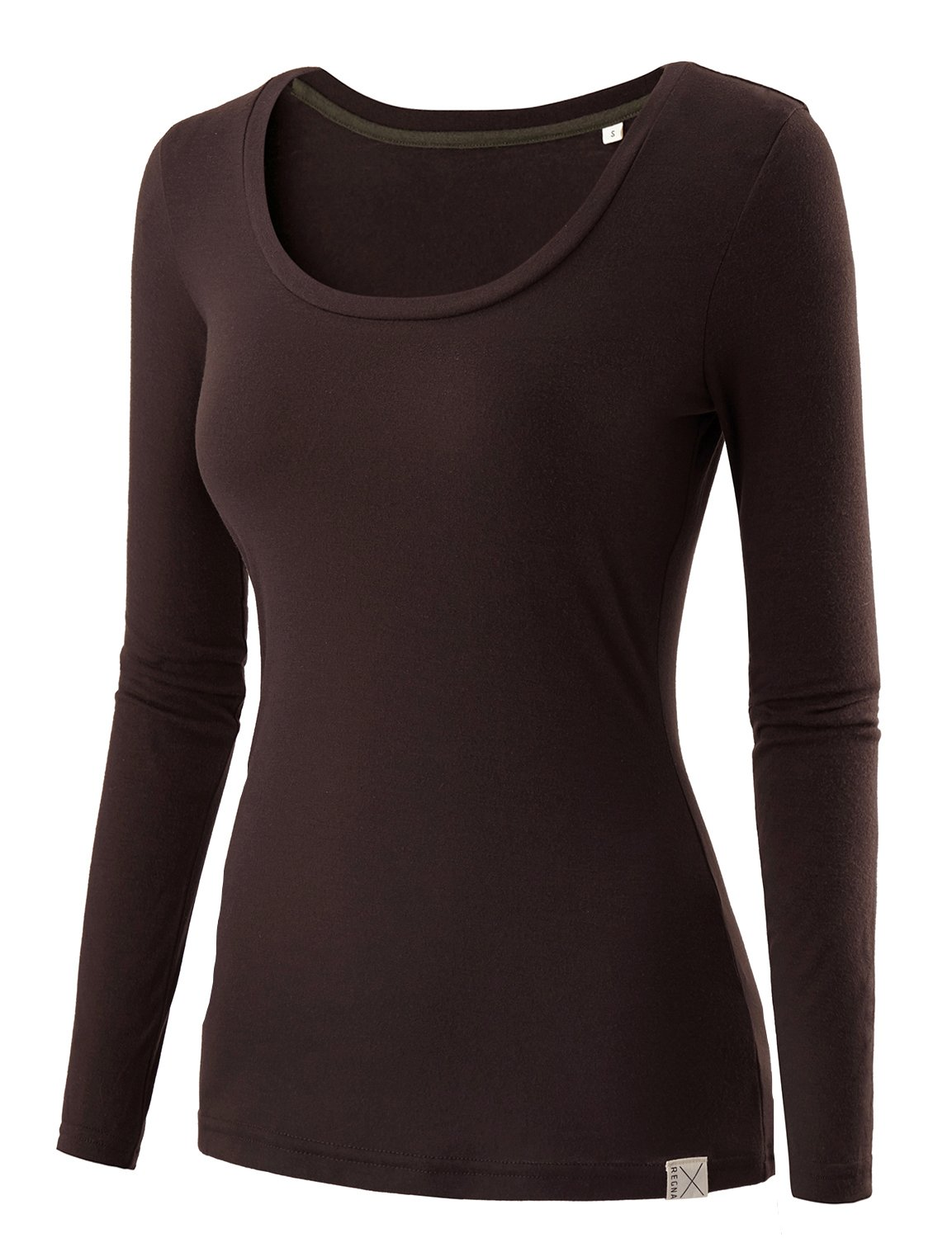 REGNA X Basic women's scoop neck baselayer compression long sleeve T-shirt top, 16241_brown, XX-Large