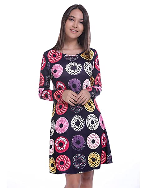 346ae4ae1aa Fancyqube Women s Long Sleeve Side Pockets Cute Donuts Printed A Line Shirt  Dress Black S