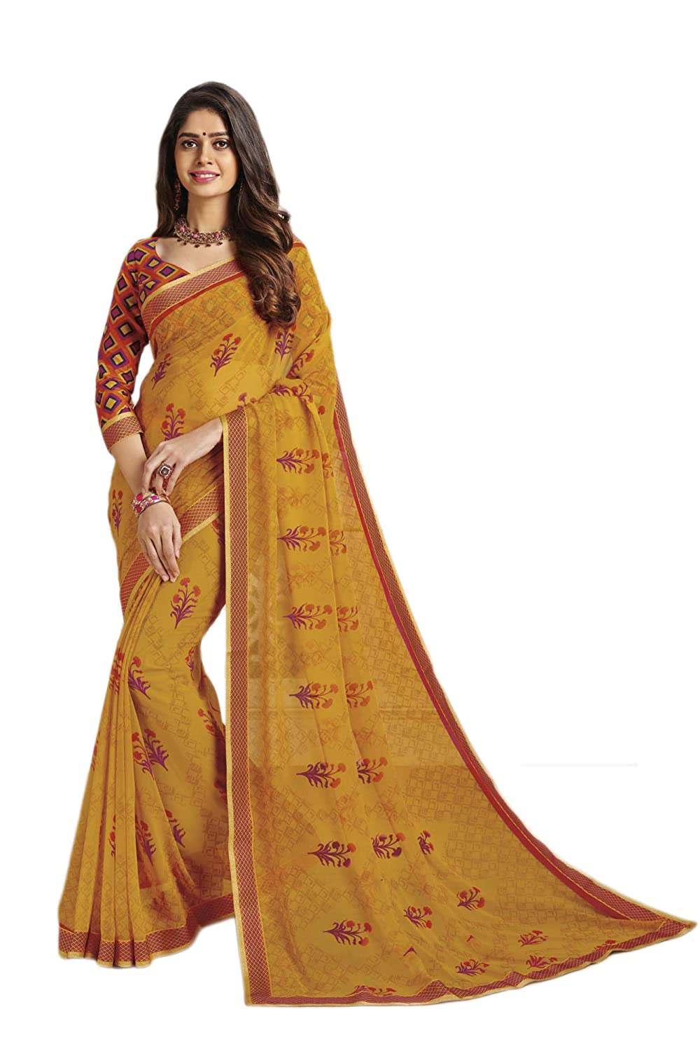 2207998faa Ankit Fashions Women's Printed with Lace Border Georgette Saree in Mustard  Yellow: Amazon.in: Clothing & Accessories