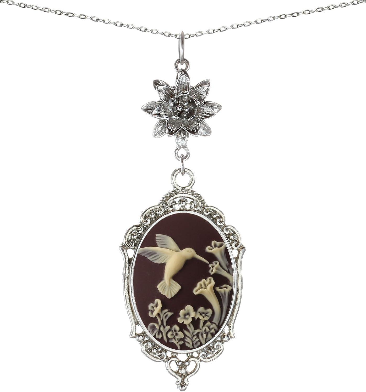 Top 9 Yspace Lotus Charm Necklace Antique Decor Cameo Pendant
