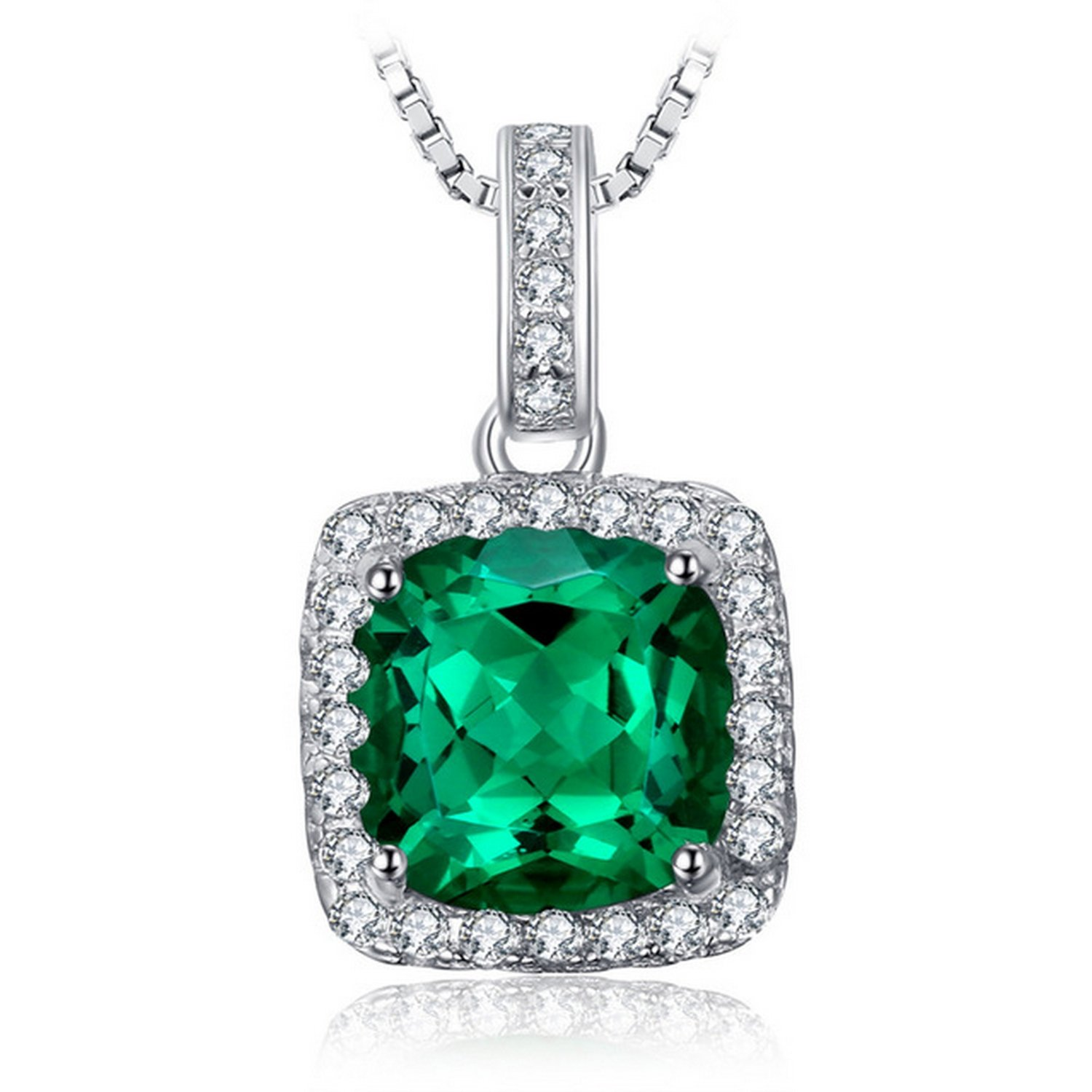 CS-DB Jewelry Silver Cushion 3.30 ct Created Emerald Chain Charm Pendants Necklaces