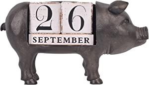 NIKKY HOME Vintage Animal Pig Wooden Perpetual Desk Calendar Blocks, Black