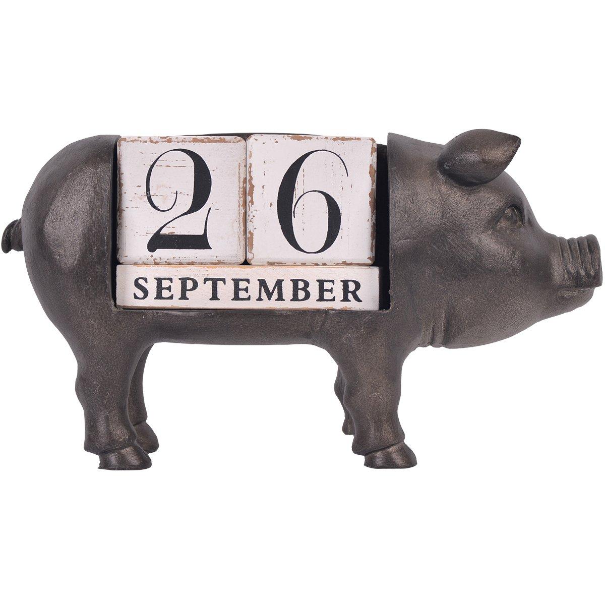 NIKKY HOME Vintage Animal Pig Perpetual Desk Calendar Blocks, Black by NIKKY HOME