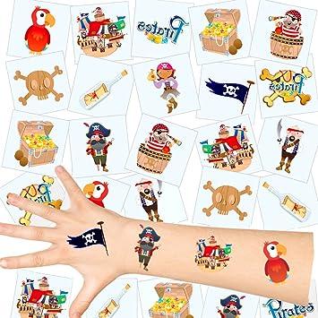 German Trendseller® - 12 x tatuajes temporales pirata┃ fiestas infantiles┃ idea de regalo┃piñata┃cumpleaños de niños┃ 12 unidades