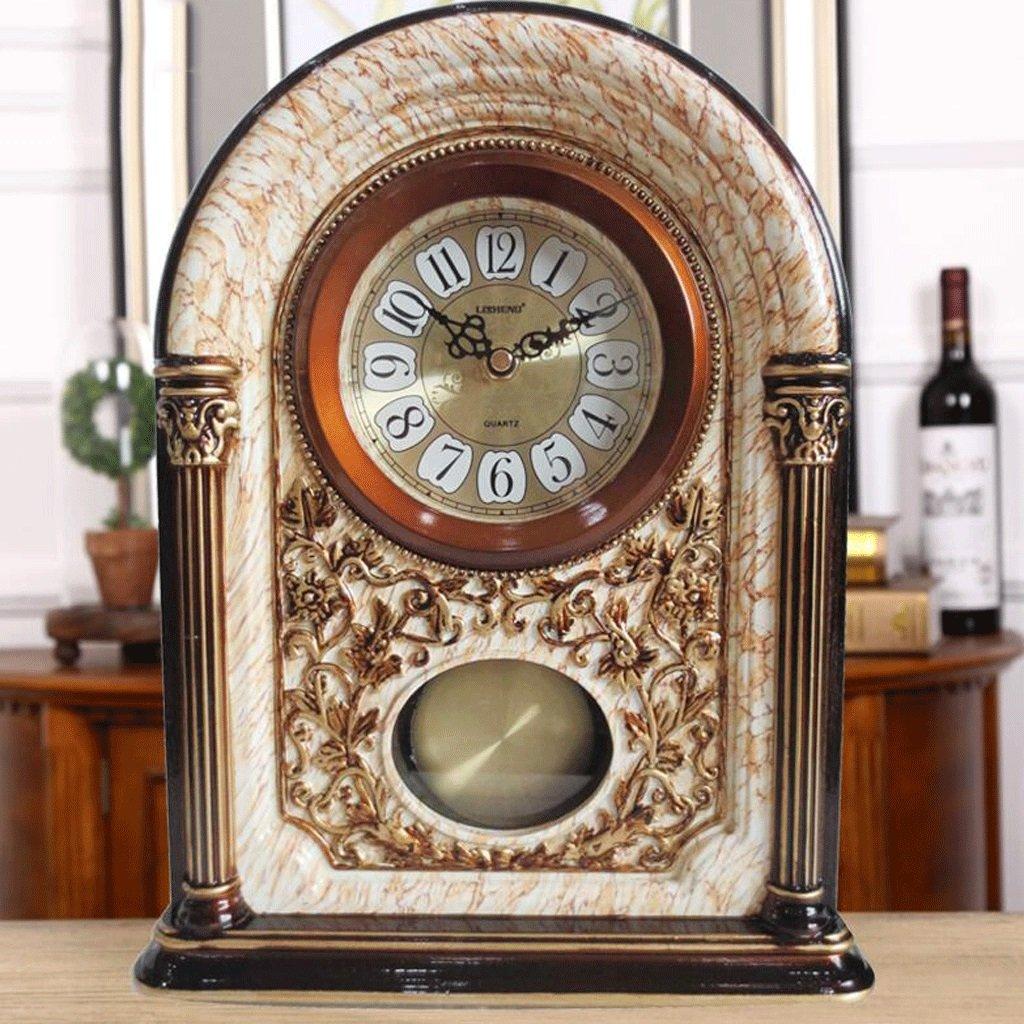 WTL 置き時計 ヨーロッパのレトロ時計リビングルームのベッドルームテーブルクロッククリエイティブクォーツ時計アンティークの装飾品 (色 : A) B07CV6HQGDA