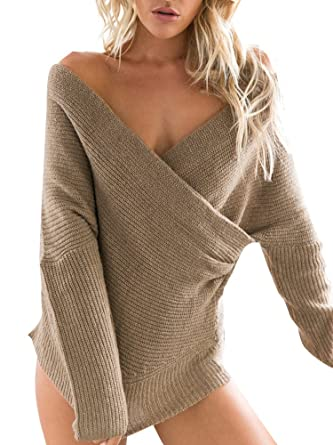Simplee Apparel Women's Batwing Sleeve V Neck Cross Front Knit ...