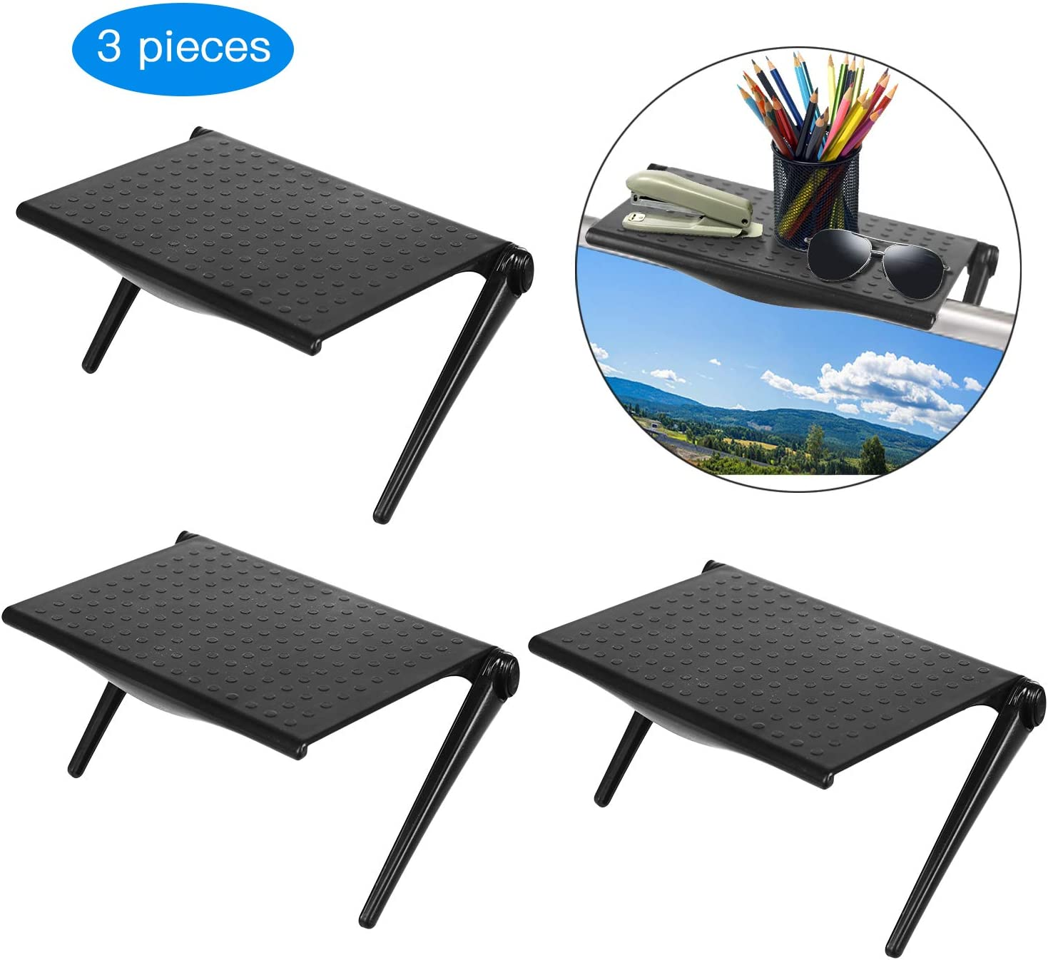 3 Pieces Screen Top Shelf Monitor Adjustable Screen Shelf TV Top Storage Bracket Flat Panel Mount for Streaming Devices, Media Boxes, Speakers and Home Decor