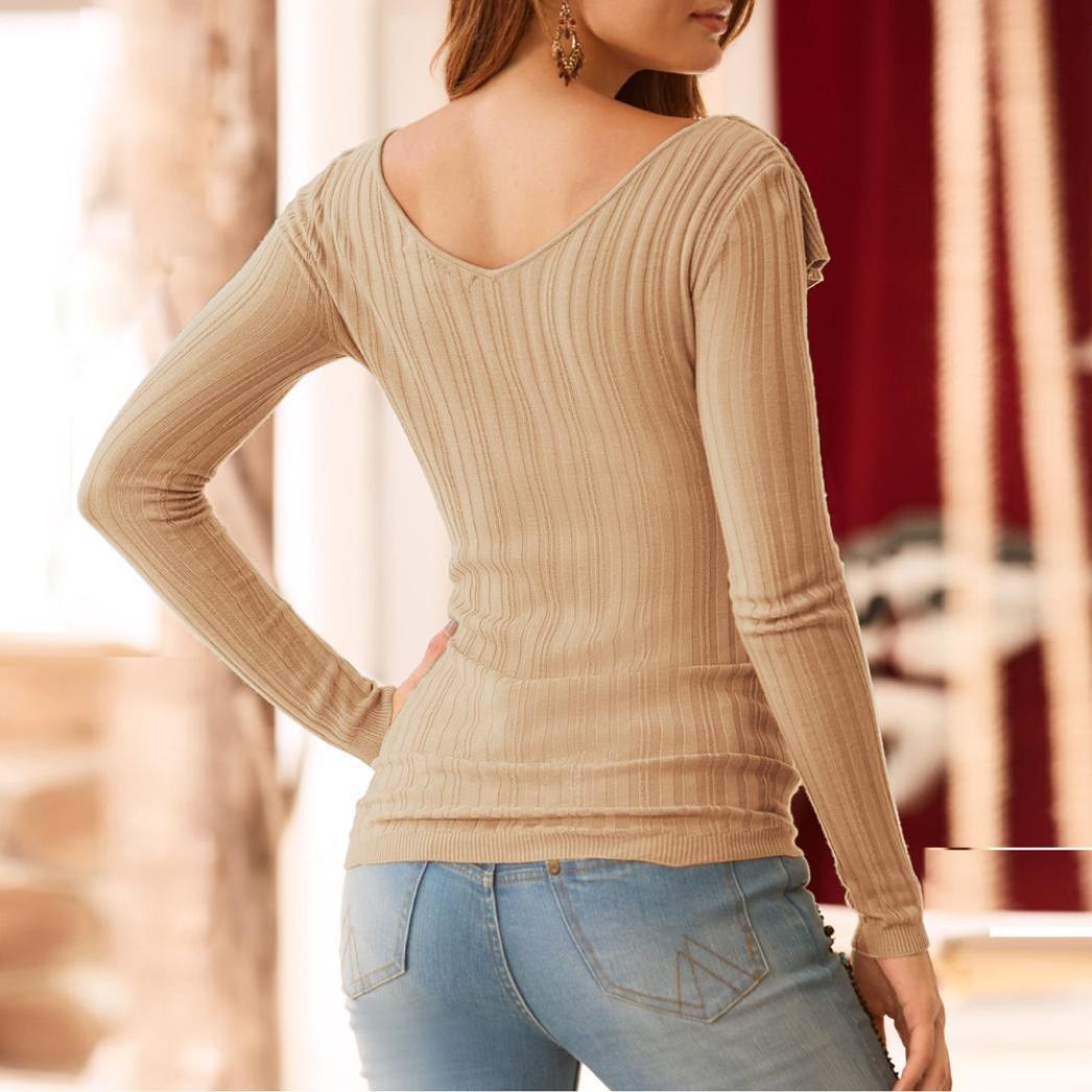 Mujeres Casual Tops en V Blusa de Manga Larga Camiseta tee Camisa con Bolsillos ❤ Manadlian: Amazon.es: Ropa y accesorios