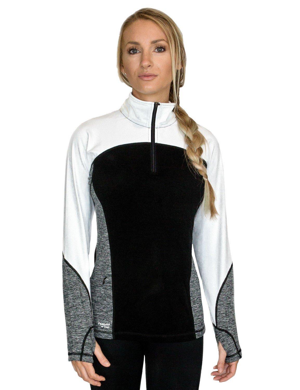 TALLA Large. woolx sudadera de con cremallera para mujer–Absorbe la Humedad Merino Jersey de lana, mujer, Black Melange