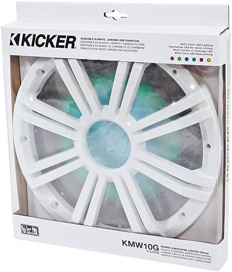"""KICKER 43KMW10GLW 10/"""" Grille w//LED For 43KMW10 Subwoofer White KMW10G"""