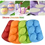 Silicone Easter 6-Cavity Egg Shaped Mold,DIY Baking Cake Chocolate Mold Red/Blue/Yellow/Green(Random Color Delivery)