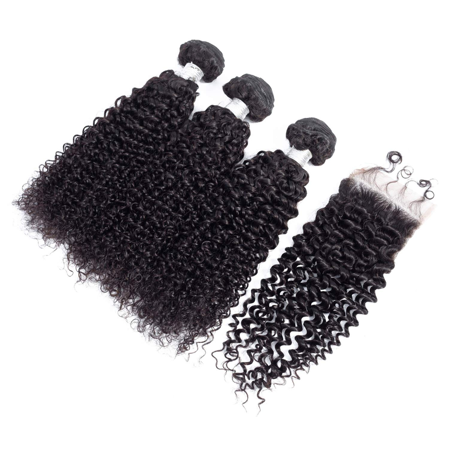 100% Peruvian Hair 4 PCS/Lot Kinky Curly Human Hair Bundles With 44 Closure With Baby Hair Natural Color,Natural Color,12 12 12 & Closure10,Free Part 719vQuDhpRL._SL1500_
