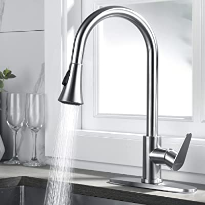 Buy Rainovo Kitchen Faucet With Pull Down Sprayer Brushed Nickel 3 Hole Kitchen Sink Faucet Stainless Steel Single Handle High Arc Faucets With Deck Plate Commercial Modern With Pull Out Sprayer Online