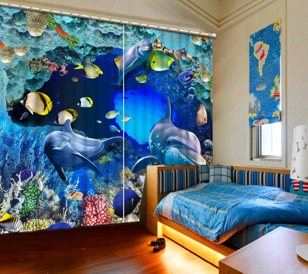 Wapel Photo Underwater World Curtain 3D Dolphin Curtains Living Room Bedroom Children Room Curtains 240X400CM