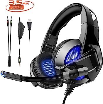 Auriculares para juegos para PS4/XBox One, Amicool Stereo Bass Surround, reducción de ruido, control de volumen, con micrófono para ordenador portátil, PC, Mac y smartphone Negro: Amazon.es: Electrónica