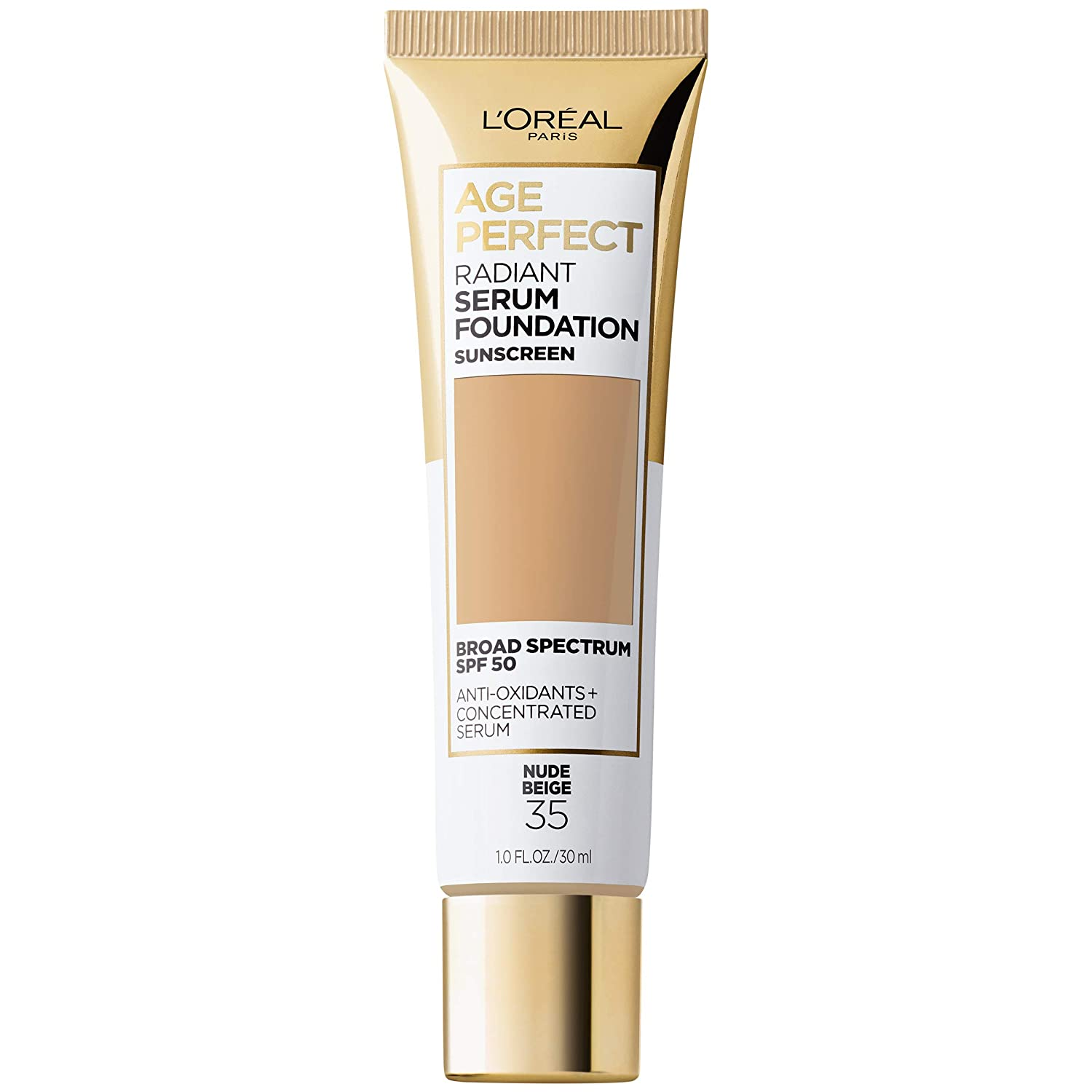 L'Oreal Paris Radiant serum foundation with spf 50, vitamin b3, and hydrating serum by age perfect cosmetics, Nude Beige, 1 Fl Oz