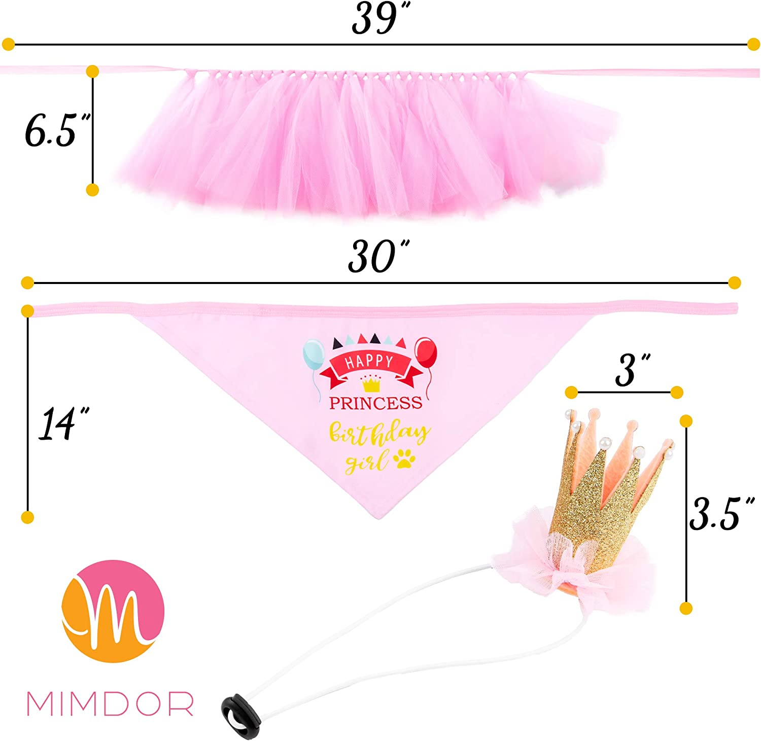 Cute Puppy Girl Gifts Happy Birthday and Lets Pawty Banners Pink Outfit Tutu Skirt Dress Glittery Pink Tulle Crown Colorful Doggy Bandana for Dogs Mimdor Dog Birthday Party Supplies Decorations