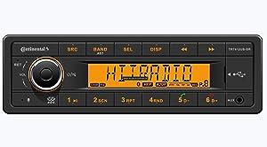 VDO Continental TR7412UB-OR European Style 12v Radio Orange Display Bluetooth