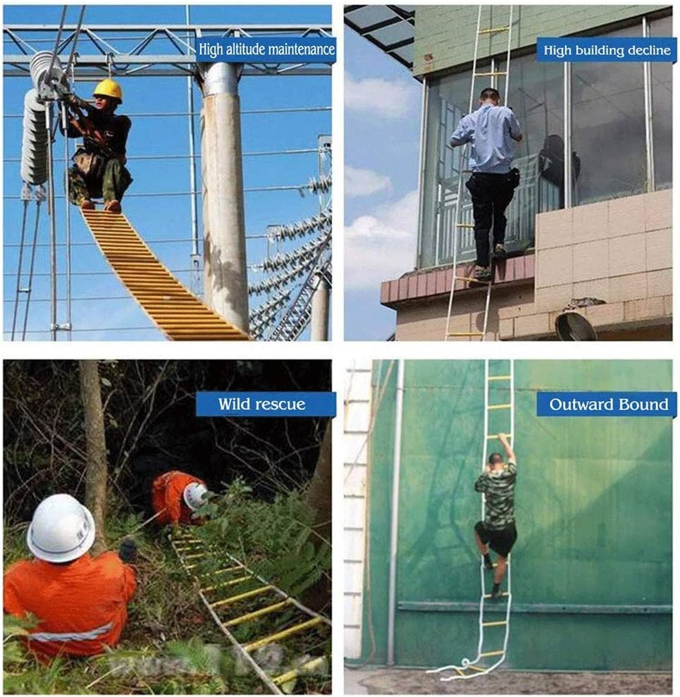 Escalera de emergencia Salida de incendios, rescate Escalera de cuerda Resina tubo antideslizante escalera de 10 metros (32,8 pies), Caja escalera de cuerda con gancho, rescate de la emergencia escape: Amazon.es: Bricolaje