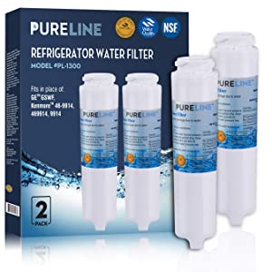 GE GSWF Compatible Refrigerator Replacement Water Filter, Also Compatible With Kenmore 46-9914, 9914, 469914, GSWFDS, AP3418061, By Pure Line (2 Pack)